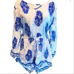 NWOT ROMPER BLUE & WHITE SPRING SUMMER